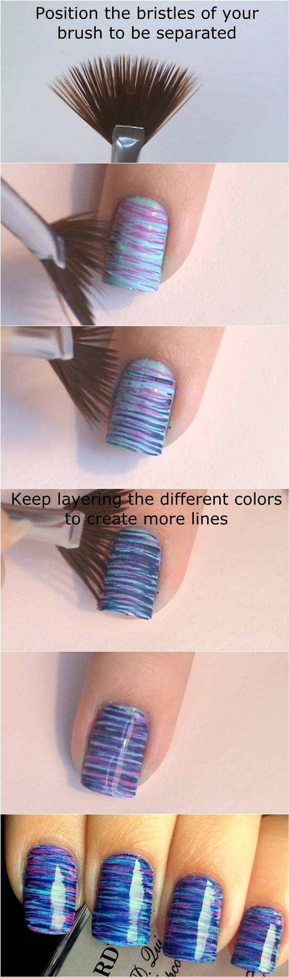 To diy blue and pink fan brush striped nail art how to diy blue and pink fan brush striped nail art prinsesfo Image collections