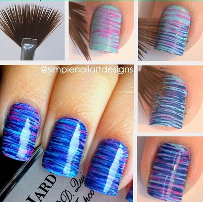 How to diy blue and pink fan brush striped nail art prinsesfo Image collections
