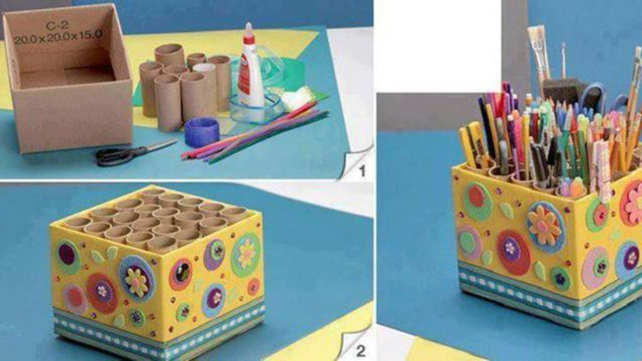 How To Diy Easy Pencil Holder From Toilet Paper Rolls
