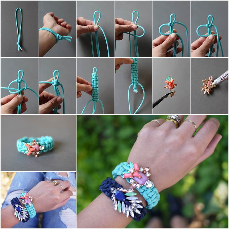 How to DIY Jeweled Embellished Paracord Bracelet