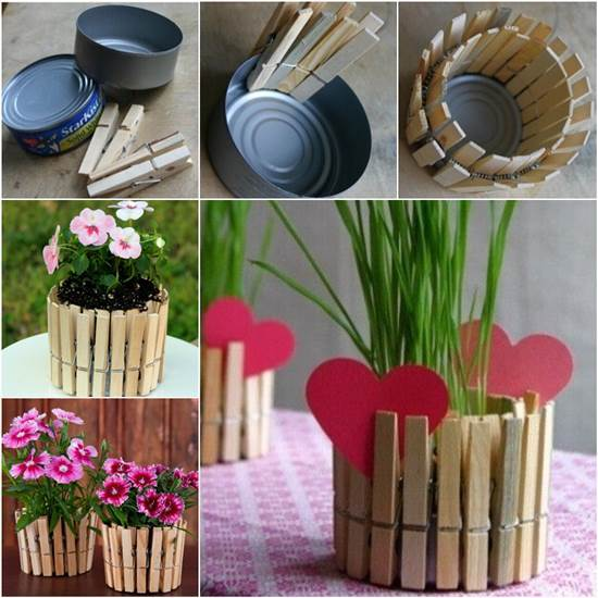How to DIY Nice Plant Pot with Clothespins and Tin Can