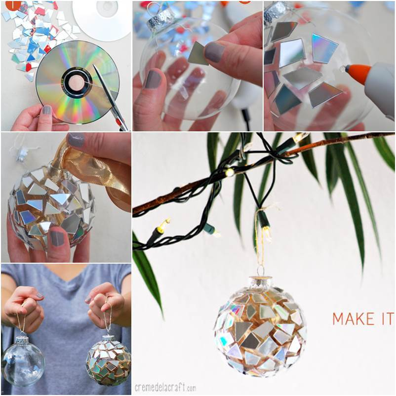 How To Diy Sparkling Mosaic Ornament From Old Cd