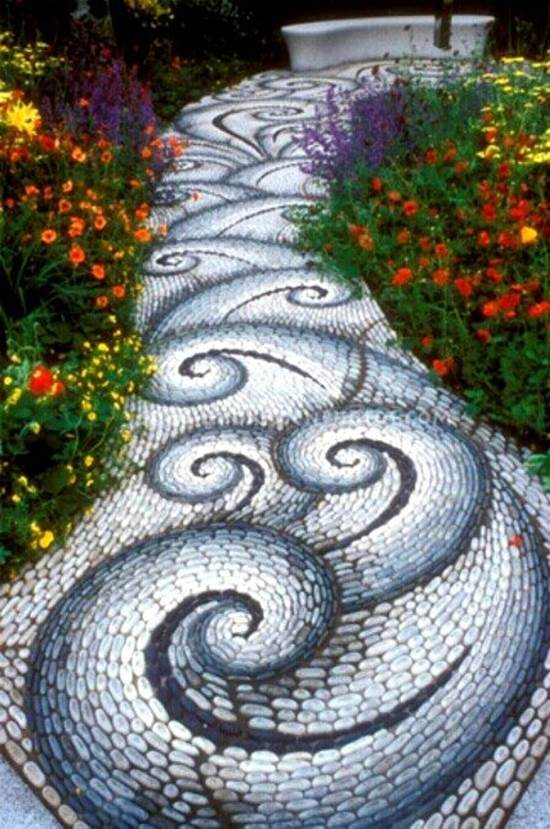 ... How To DIY Spiral Mosaic Stone Garden Path 5