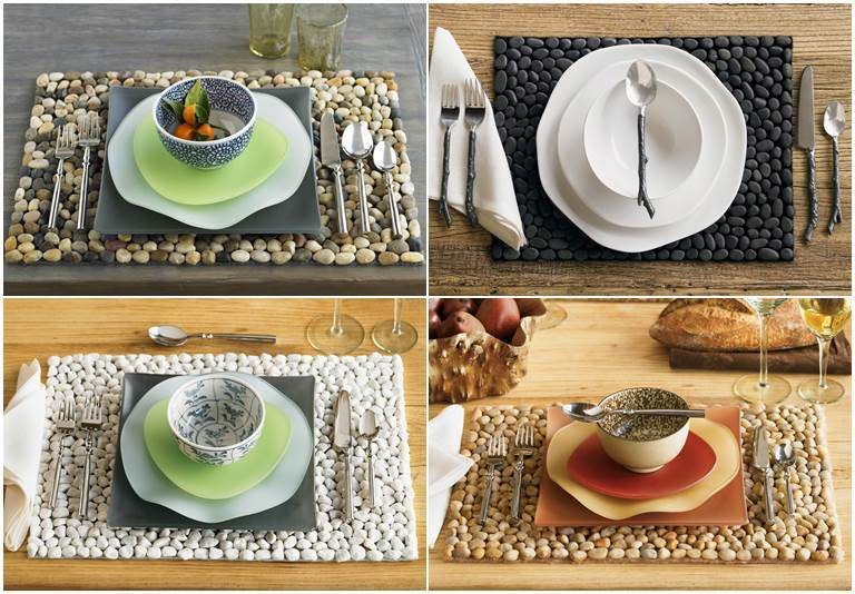 DIY Stone Floor Mat --> Stone Placemats