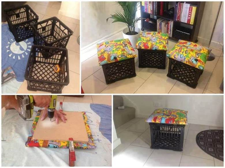How to DIY Storage Ottoman from Milk Crate