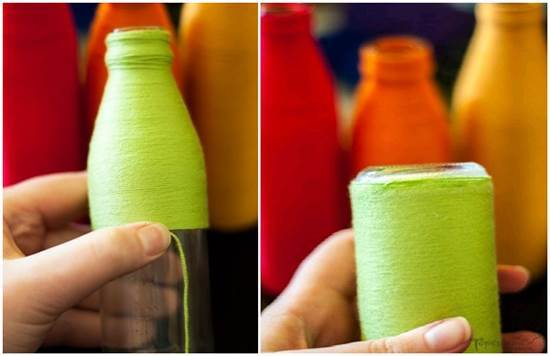 How to DIY Yarn Decorated Flower Vase 4