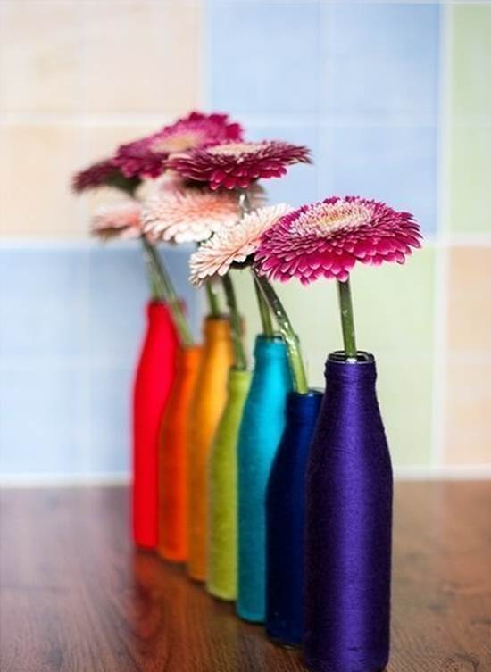 How To Diy Yarn Decorated Flower Vase