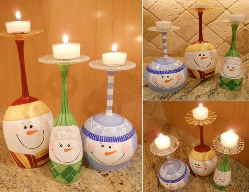 adorable diy painted wine glass candle holder
