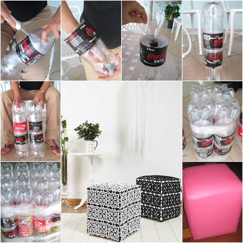 How to make a nice diy ottoman from plastic bottles for Creativity with plastic bottles