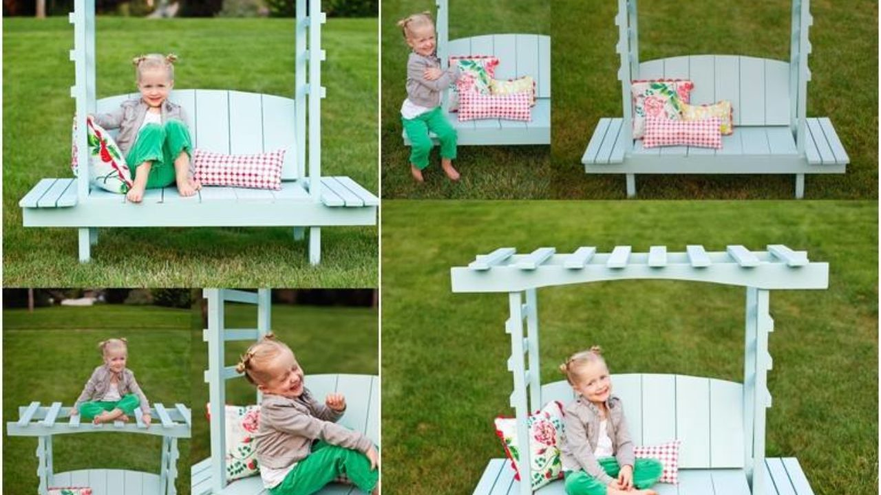 Creative DIY Outdoor Arbor Bench For Kids