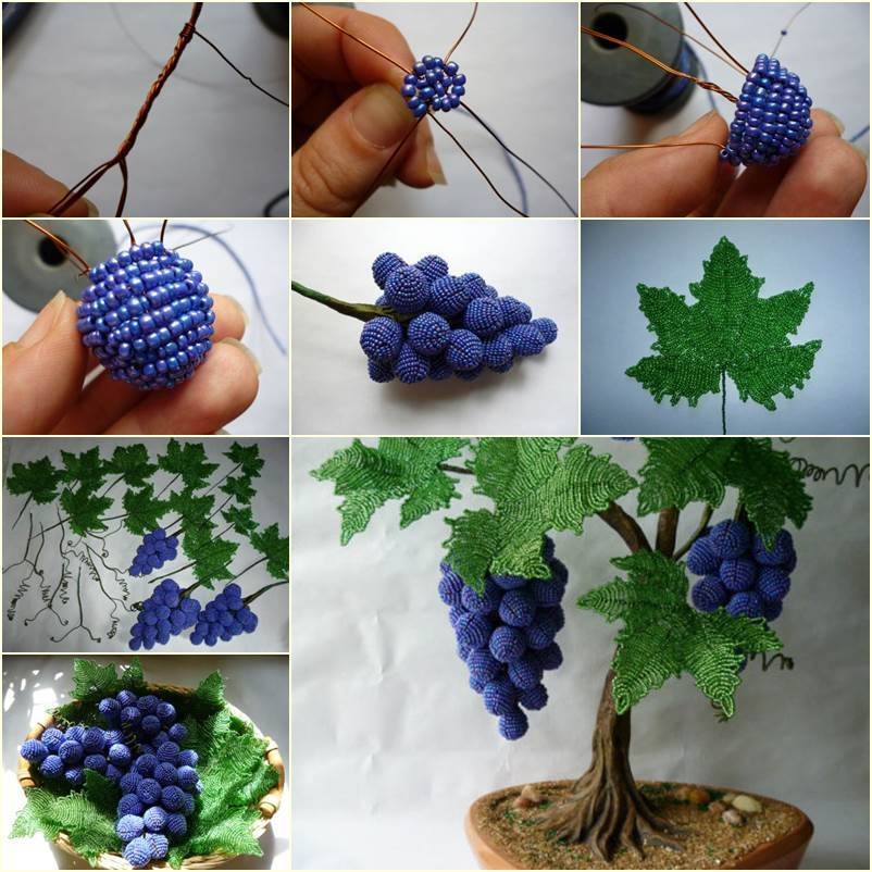 DIY Beautiful Beaded Grape Vine