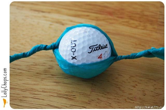 DIY Beautiful Tissue Paper Flower Using a Golf Ball 2