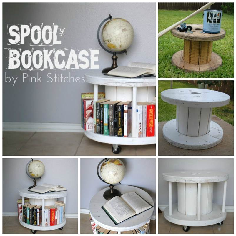 DIY Bookcase From A Cable Spool