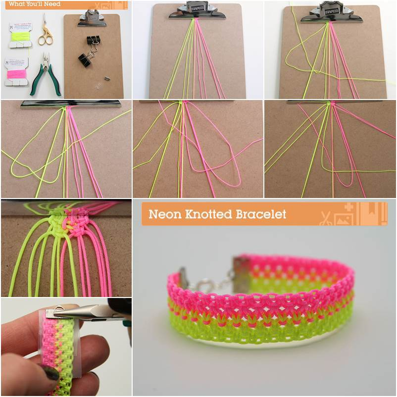 DIY Bright Neon Knotted Bracelet