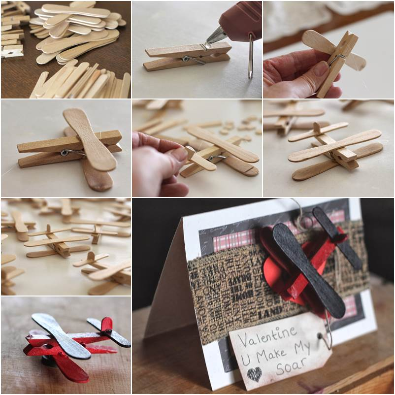 Diy clothespin and popsicle stick airplane for Popsicle stick creations ideas