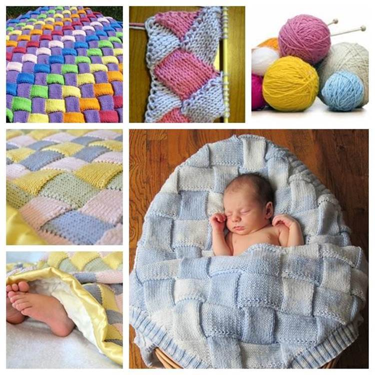 DIY Colorful Entrelac Knitted Baby Blanket