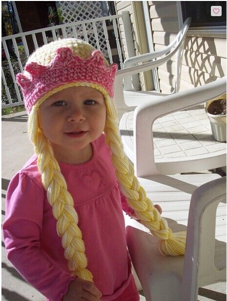 DIY Crochet Rapunzel Hat with Long Braids --> Princess Hat with Braids and Crown