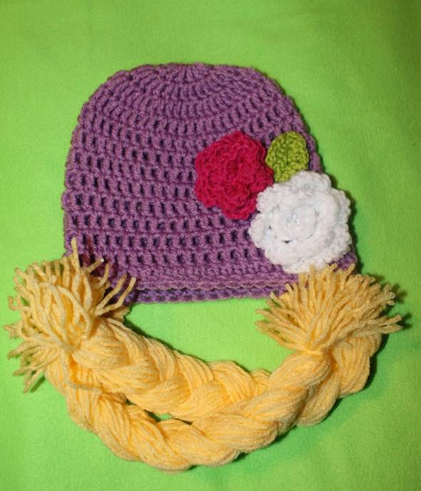 DIY Crochet Rapunzel Hat with Long Braids --> Rapunzel Beanie Flower and Leaf Patterns