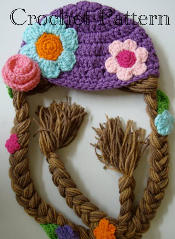 DIY Crochet Rapunzel Hat with Long Braids --> Rapunzel Hat Crochet Pattern