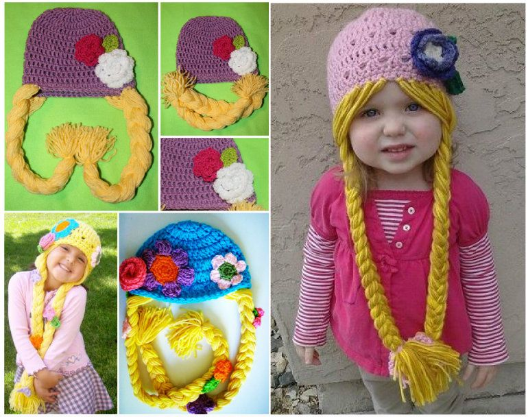 DIY Crochet Rapunzel Hat with Long Braids
