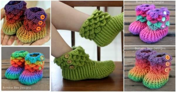 Diy Lovely Crocodile Stitch Crochet Booties