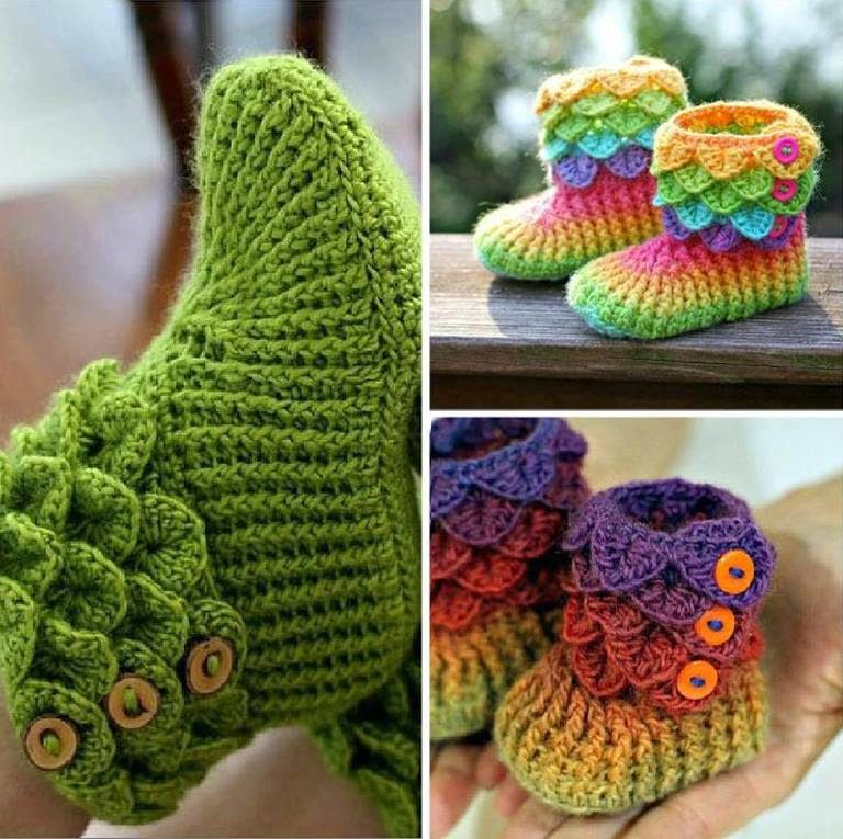 DIY Lovely Crocodile Stitch Crochet Booties New Crochet Boot Pattern