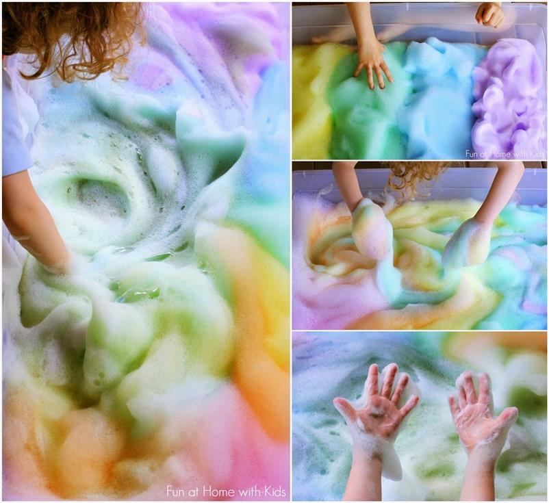 DIY Rainbow Soap Foam Bubbles