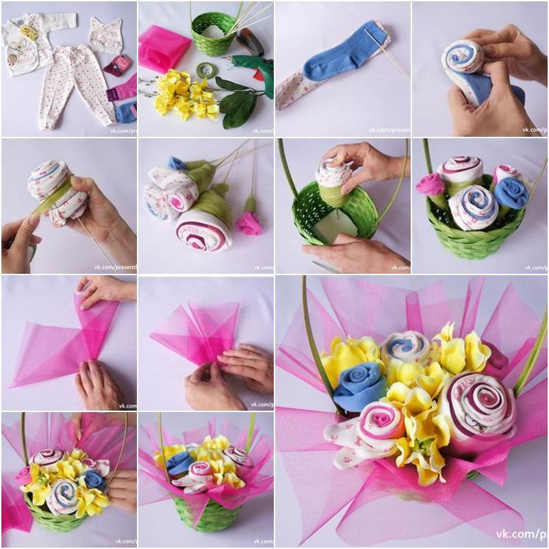 How to diy baby clothes flower bouquet negle Image collections