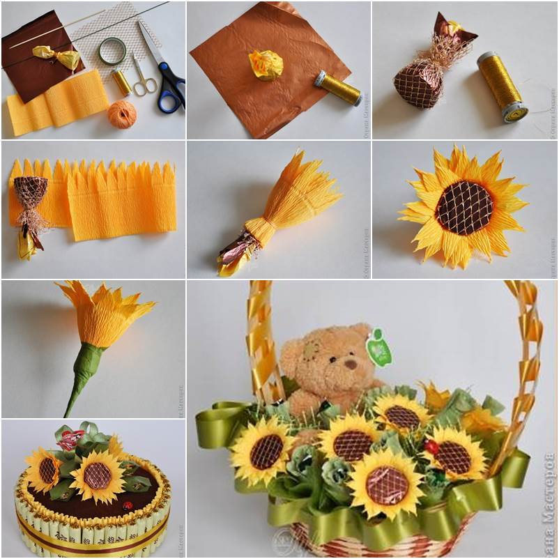 How to DIY Crepe Paper Chocolate Sunflowers