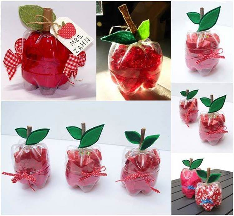 How to DIY Cute Apple Shaped Gift Boxes from Recycled Plastic Bottles
