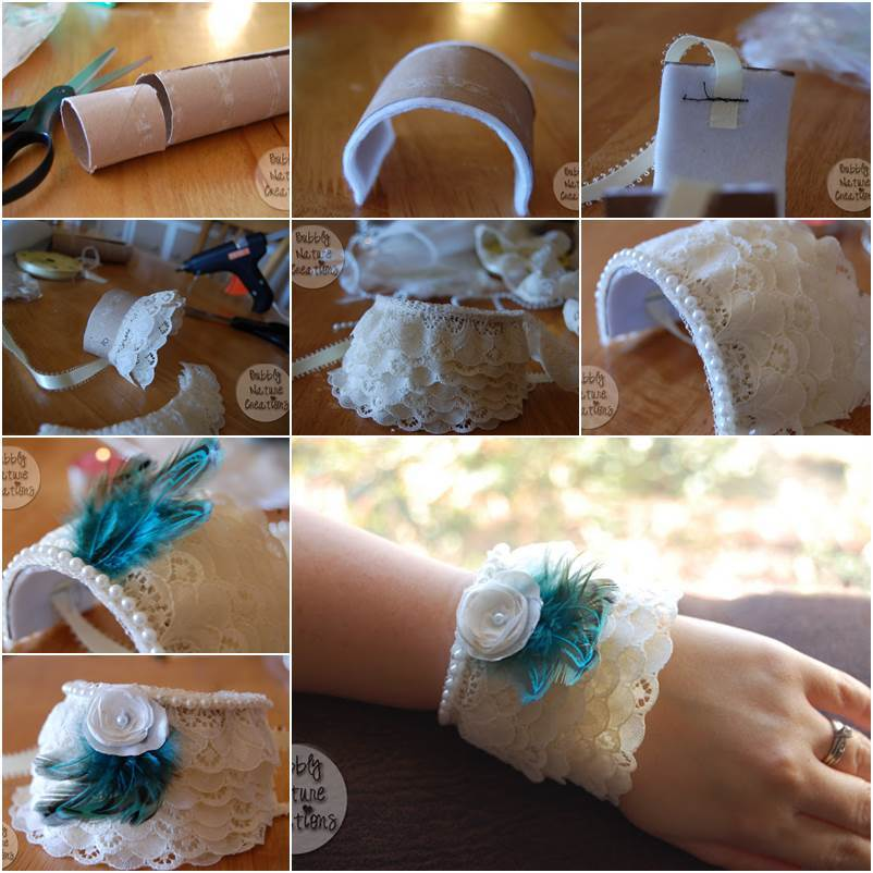 How To Diy Lace Cuff Bracelet From Toilet Paper Roll