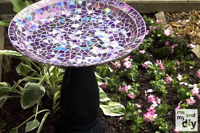 How to DIY Mosaic Birdbath from Recycled DVDs