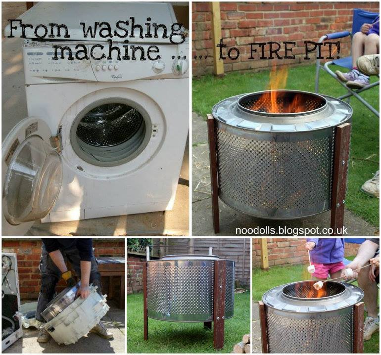 How to DIY Repurpose Broken Washing Machine into Fire Pit