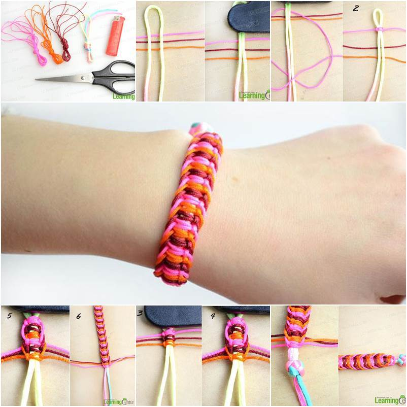 how to make a square knot bracelet diy stylish square knot macrame bracelet icreativeideas 8914
