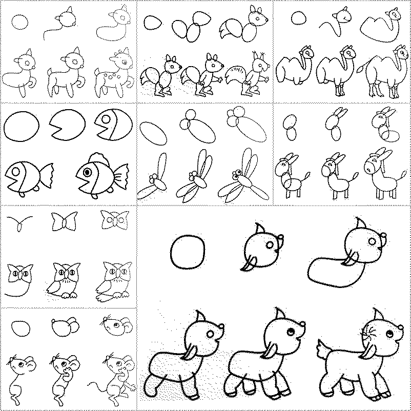 How to draw easy animal figures in simple steps