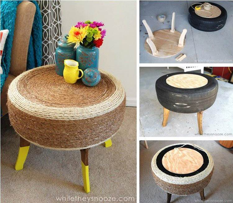 How to repurpose old tire into a cute end table for How to make tire furniture