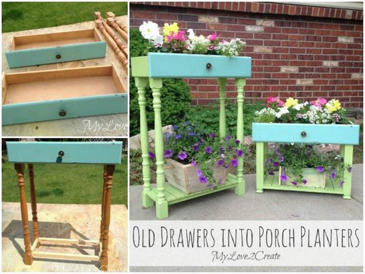 How to Upcycle Old Drawers into Porch Planters