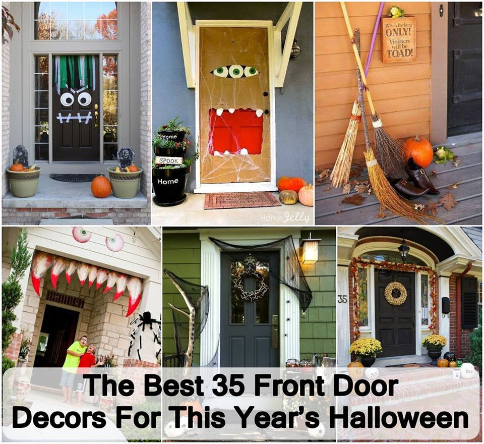 35 creative front door decors for halloween - Creative Halloween Door Decorations