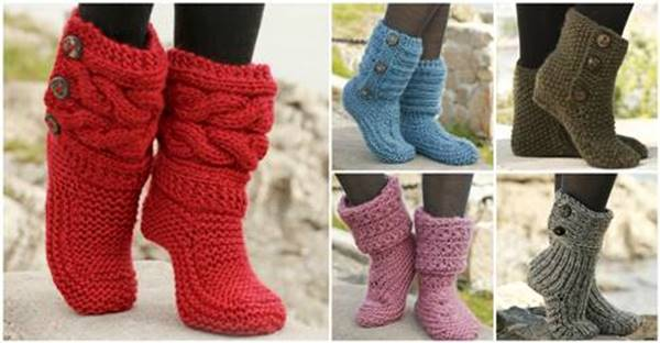 6 Stylish Knitted And Crochet Slipper Boots Free Patterns