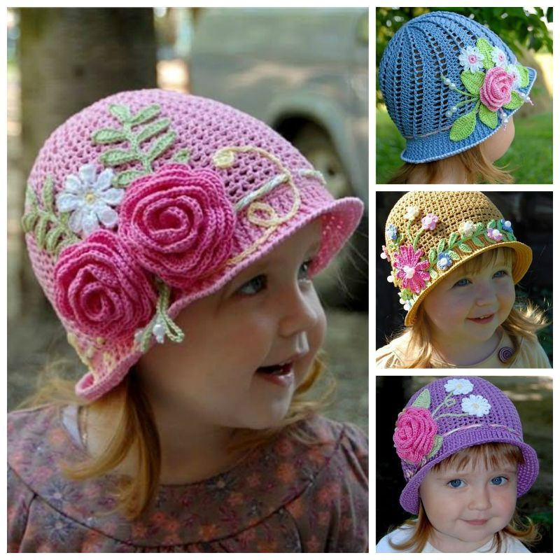 Creative DIY Adorable Crochet Flower Hats for Little Girls 48ecb972fad