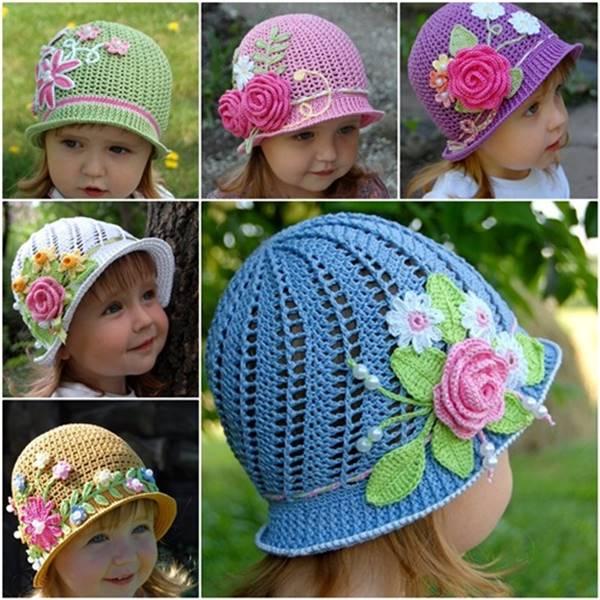 d55811eb9fa Creative DIY Adorable Crochet Flower Hats for Little Girls
