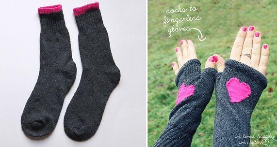 Creative DIY Fingerless Gloves From Socks 1