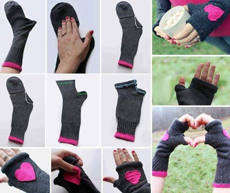 Creative diy fingerless gloves from socks - Marie kondo doblar ropa ...