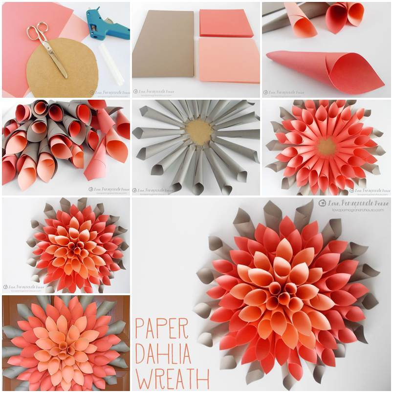 Creative Ideas - DIY Beautiful Paper Dahlia Wreath - photo#38