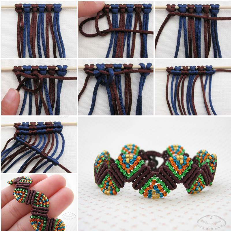 Creative Ideas - DIY Colorful Wave Macrame Beaded Bracelet
