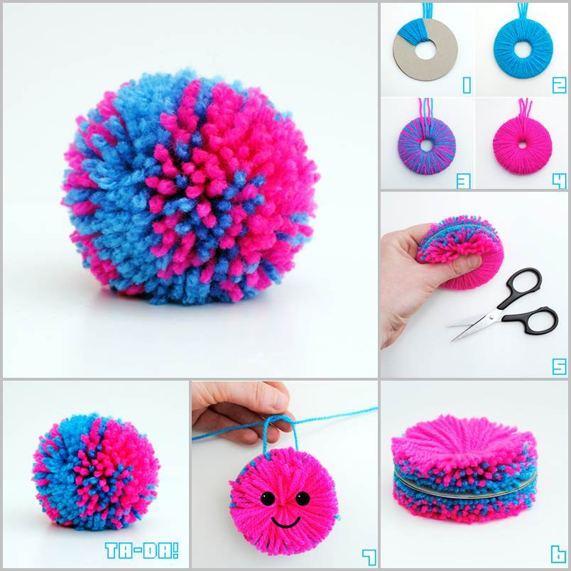 creative ideas diy easy yarn pompoms. Black Bedroom Furniture Sets. Home Design Ideas