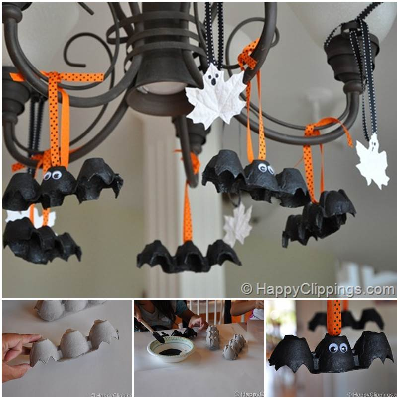 creative ideas diy egg carton bats halloween decoration - Cheap Diy Halloween Decorations