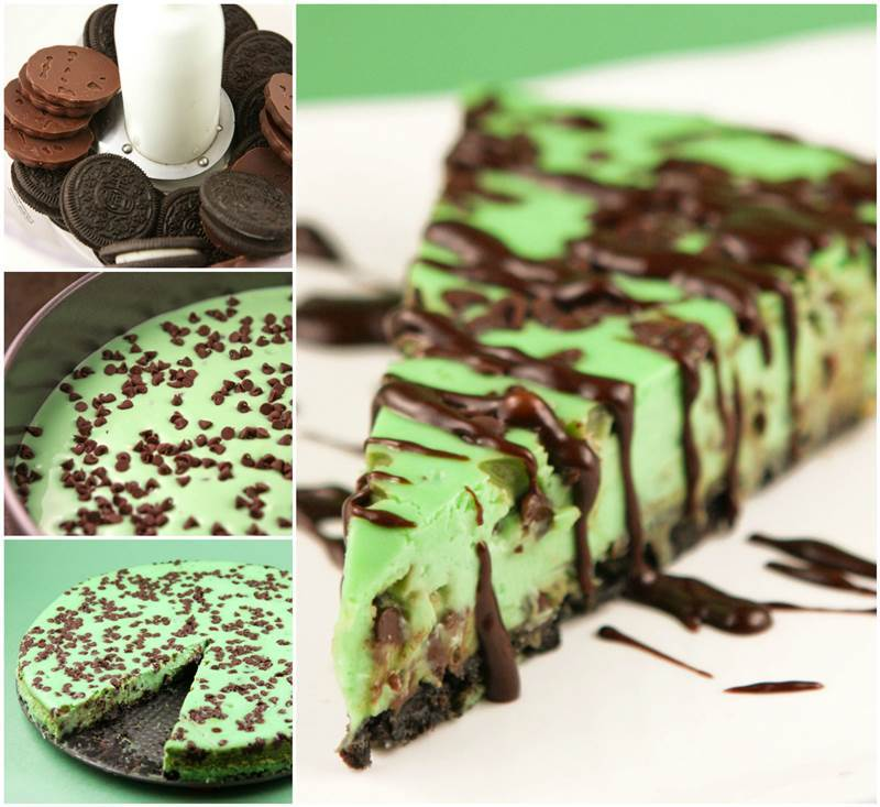 Creative Ideas - DIY Mint Chocolate Chip Cheesecake