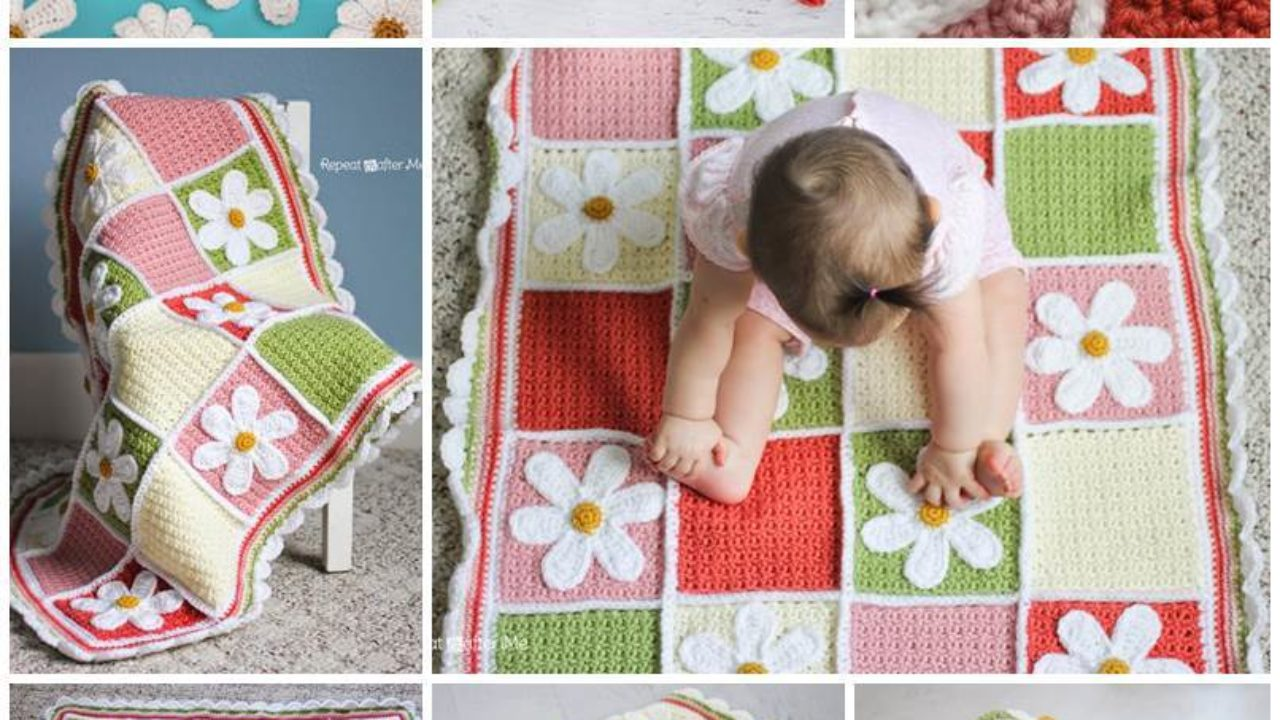 Creative Ideas DIY Pretty Crochet Daisy Baby Blanket 1