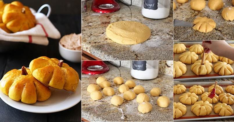 Creative Ideas - DIY Pumpkin Bread Rolls with Cinnamon Butter